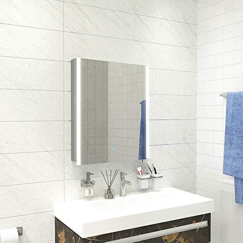 Qiyang 500 x 700 MM LED beleuchteter Spiegelschrank für Badezimmer aus Aluminium und...