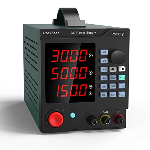 Programmable 30V/5A DC Power Supply Variable, Adjustable Switching Regulated Power Supply with 4-Digit Large Display Alligator Leads, PC Software, USB Interface for Lab Equipment, 110V~60HZ, (305P)