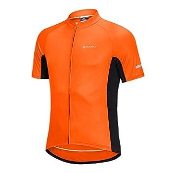 NUCKILY Men s Cycling Jersey Short Sleeve Bike Bicycle Biking Riding Shirt Reflective Stripe with 3 Pockets