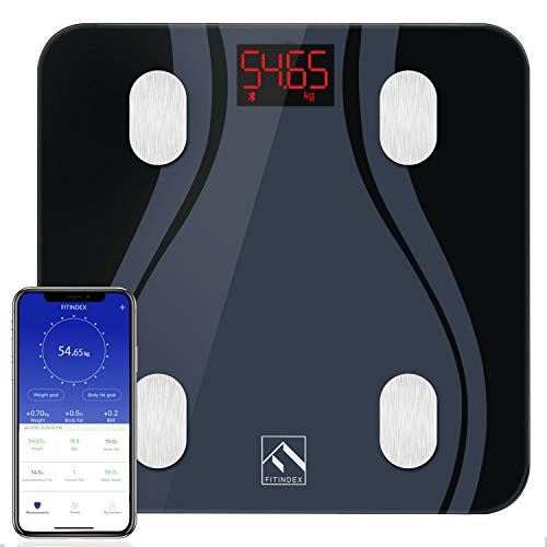 FITINDEX Smart Bluetooth Body Fat Scale with Upgraded App, High Precision Bathroom Scales Digital Weight and Body Fat Body Composition Monitor, 396lb/180kg, Black