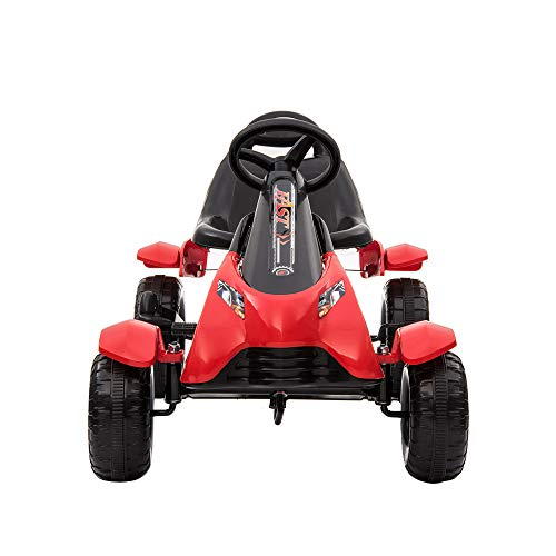 Kinder Go Karts Pedal Powered Fahrrad 4 Rad Racer Spielzeug Stealth Pedal Powered Outdoor Beach Racer,( Rot,02)