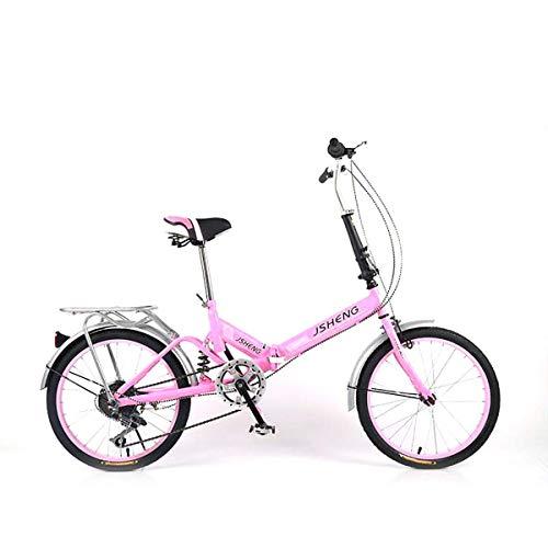H.aetn Bicicleta Plegable de una Sola Velocidad para Estudiantes Bicicleta Plegable Bicicleta Plegable portátil con Amortiguador de Velocidad - 20 Pulgadas, A, Velocidad Individual