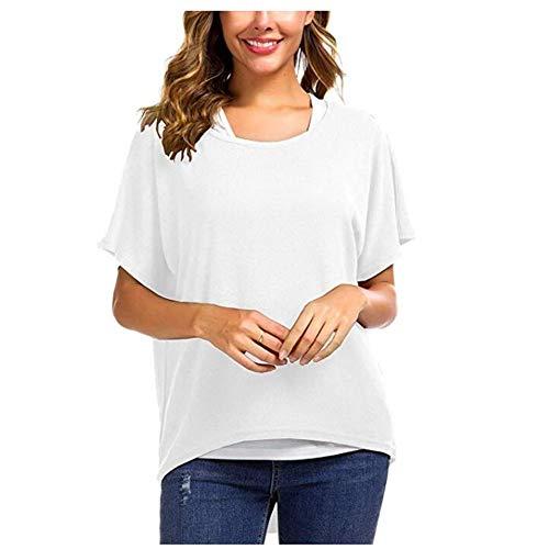 Damen Lose Asymmetrisch Jumper Sweatshirt Pullover Bluse Oberteile Oversized Tops T Shirt Weiß S