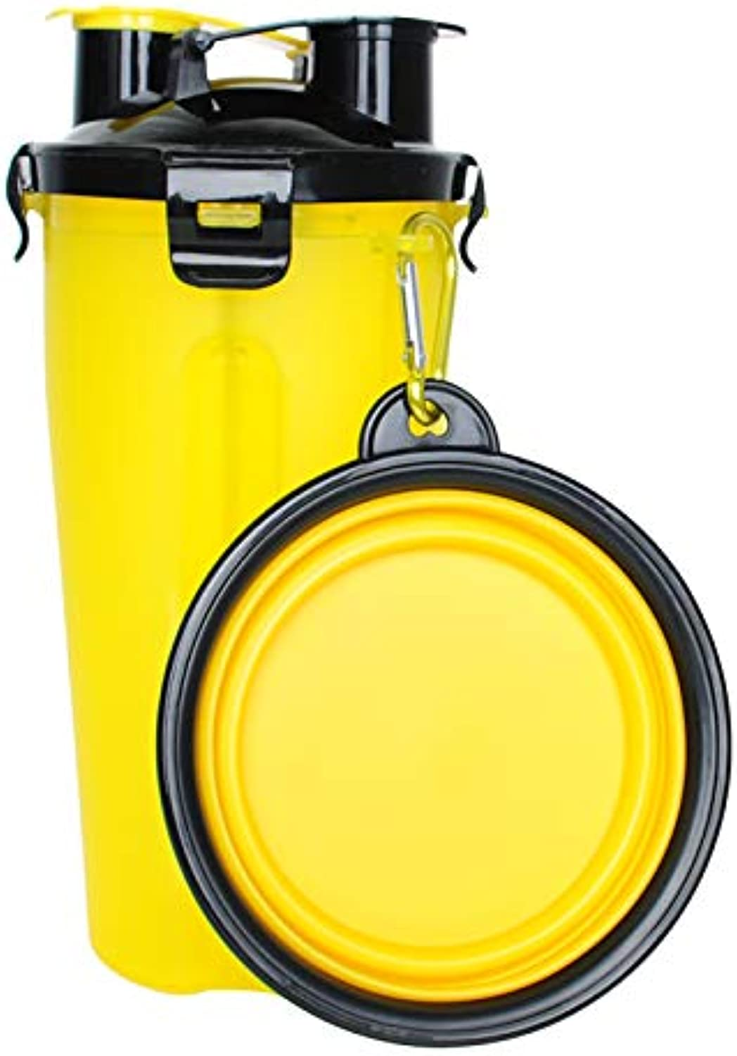 Pet Room (3Pack) 2 in 1 Collapsible Travel Dog Water Bottle and Bowl + Disposable Waste Poop Bag with Dispenser (Yellow Bottle)