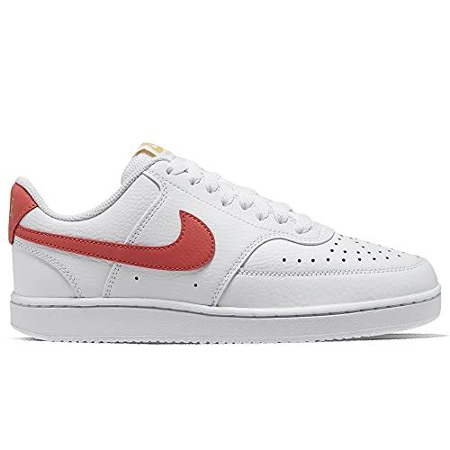 Nike Court Vision Low, Scarpe da Basket Donna, Bianco Rosso, 42 EU