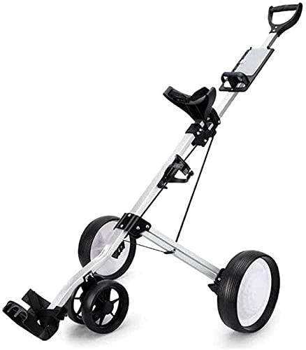 TUHFG Carro de golf carrito de golf Carros de empuje de 4 ruedas, carrito de golf plegable con soporte para bebida, carrito compacto de tirar y plegar fácil de transportar (color: negro)