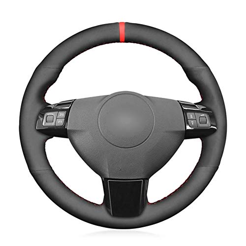 MioeDI Hand-Stitched Black Suede Car Steering Wheel Cover,For Opel Astra H Signum Vectra C Vauxhall Signum Vectra C Holden