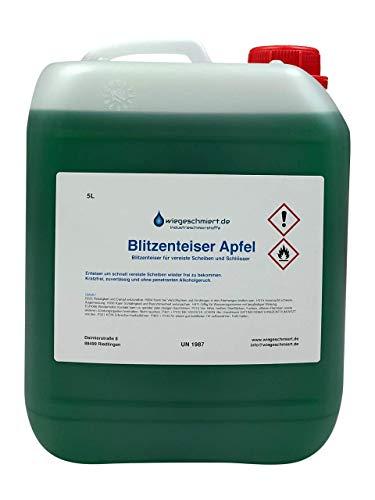 Knaus Schmierstoffe 5 Liter Blitzenteiser Apfel Konzentrat mit Apfelduft für schnelle Scheibenenteisung vor Frost bis -60 °C, 5L Kanister
