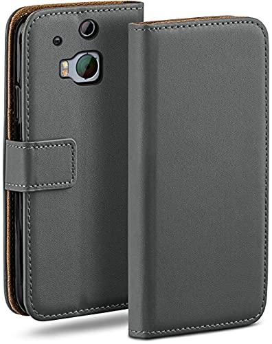 moex Klapphülle für HTC One M8 / M8s Hülle klappbar, Handyhülle mit Kartenfach, 360 Grad Schutzhülle zum klappen, Flip Hülle Book Cover, Vegan Leder Handytasche, Dunkelgrau