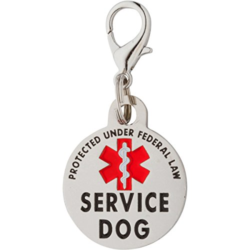 Service Dog TAG Small Breed Premium Double Sided Dog Identification .999 inch Engraved -Bold Protected Under Federal Law with Medical Alert Symbol Easily Attach to Collar Harness and Service Dog Vest