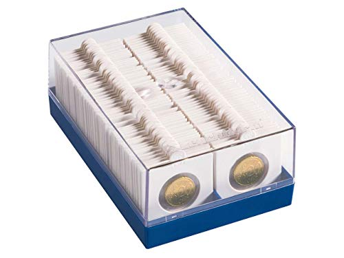 Leuchtturm 315511 Caja de plástico para 100 cartones de monedas, azul