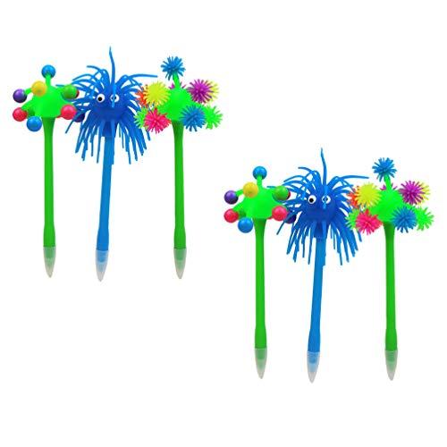 TOYANDONA - Lote de 6 bolígrafos de tinta con diseño de pluma de banda de dibujo, regalo para la oficina, escuela o estudiantes