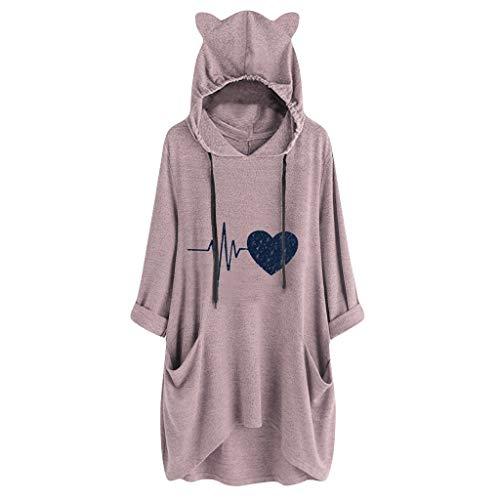 LIMITA Damen Casual Hoodie Long Sleeves Cat Ear Printing Hoodie mit Tasche Shirt Hoodie Unregelmäßiger Top Bluse Hoodie