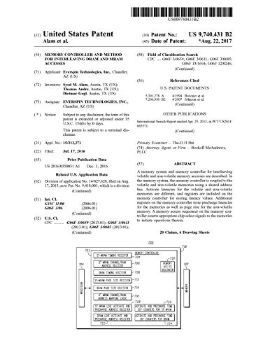 Memory controller and method for interleaving DRAM and MRAM accesses: United States Patent 9740431 (English Edition)