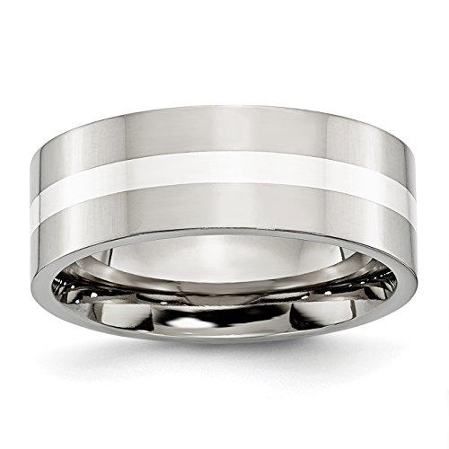 Diamond2Deal - Alianza de boda (acero inoxidable y plata de ley, 8...
