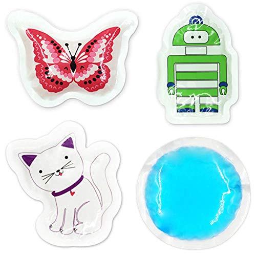 4 Stück Kinder Kühlkissen Kühlpads Gel für Kinder - Wiederverwendbare Kalt Kompresse Coolpack Klein - für Verletzungen, Beulen, Weisheitszähne, Fieberkühlung und Mehr