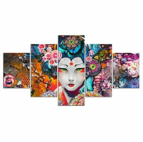 COCOCI 5 Piezas De Lienzo Estilo de Mujer Japonesa Geisha Lienzos Decorativos XXL Cuadros Modernos Baratos Cuadros para Pasillo Cuadros Decorativos Cuadros para Dormitorios Modernos(150 * 100cm)