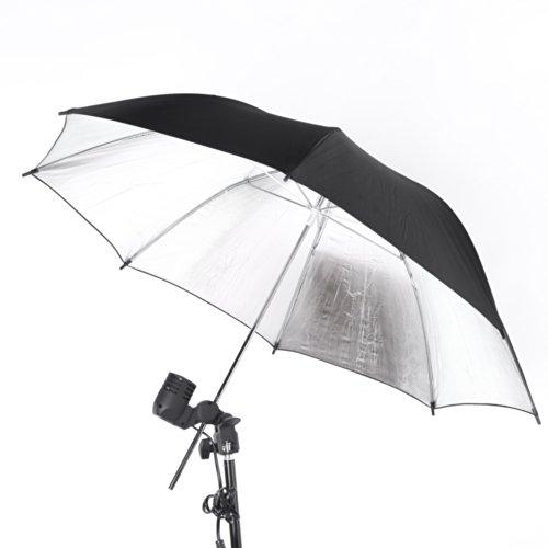 Andoer 33in/83 centimetri ombrello Flash di studio fotografico flash stroboscopico riflettore di luce fuori dal nero in argento