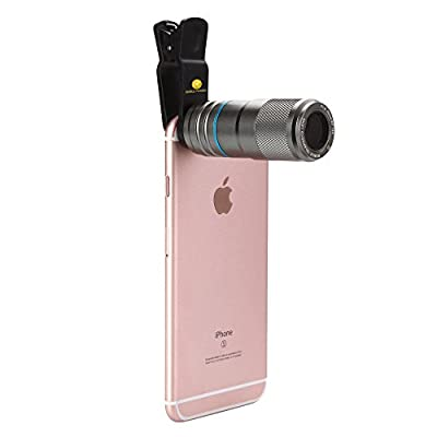 iPhone 7 Camera Lens, 12X Zoom Universal Camera Lens Clip-on Telephoto Lens w/ Full Metal Body 90-Degree Wide Angle for iPhone, Android Smartphones (Gray)