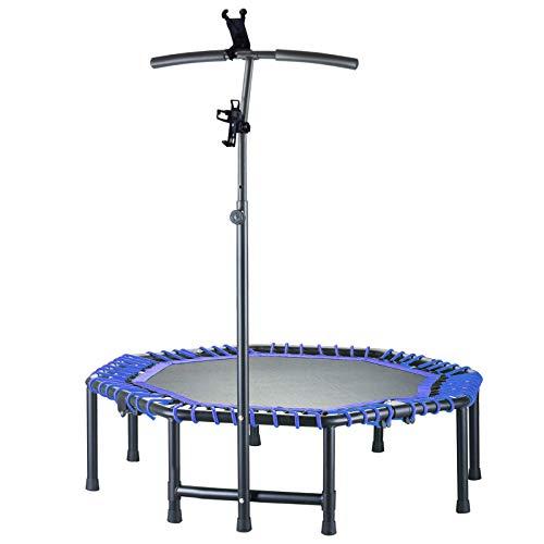 LBLA 48Inch Trampoline per Adulti,4-Folding Fitness Trampoline, Aggiustabile Bungee di Handrail Rebounder Indoor/Outdoor Trampolines con titolare del telefono、Cup Holder、 corda elastica(blu)