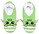 Star Wars Baby Yoda Character Stripes Juniors/Womens Slipper Socks with Embroidered Ears