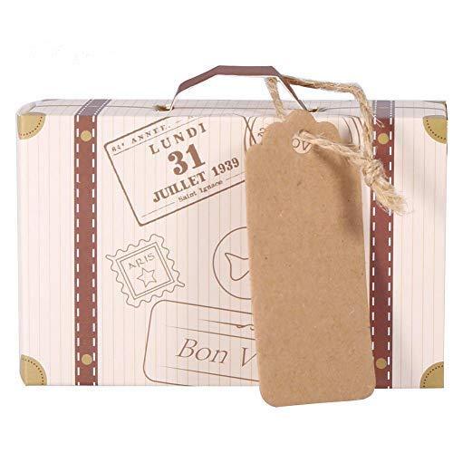 AUNMAS Caja de Regalo de Caramelo de cartón de 50 Piezas Mini Caja Decorativa en Forma de Maleta Contenedor de refrigerios Favores de Fiesta de cumpleaños de Boda