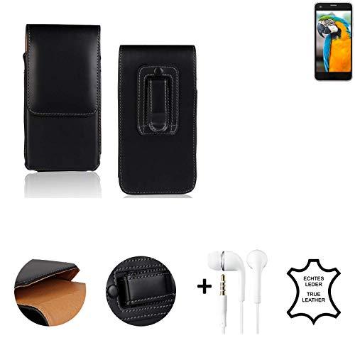 K-S-Trade® Leder Gürtel Tasche + Kopfhörer Für Vestel V3 5040 Seitentasche Belt Pouch Handy-Hülle Gürteltasche Schutz-Hülle Etui Schwarz 1x