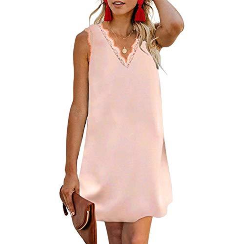 URIBAKY Mode Damen Sommer T Shirt Kleider,Kurz Strap Down V-Ausschnitt Spitze Ärmelloses Casual Lässiges Elegant Minikleid Tunika Kleid Kurz Große Große