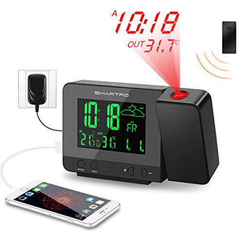 SMARTRO SC31B Digital Projection Alarm Clock with Weather Station, Indoor Outdoor Thermometer, USB...