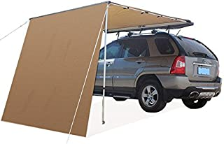 6.5'L x 6.5'W Roof Rack 4x4 Awning w/ FREE 6.5' Front Extension, for Car/SUV/Truck - Dark Beige