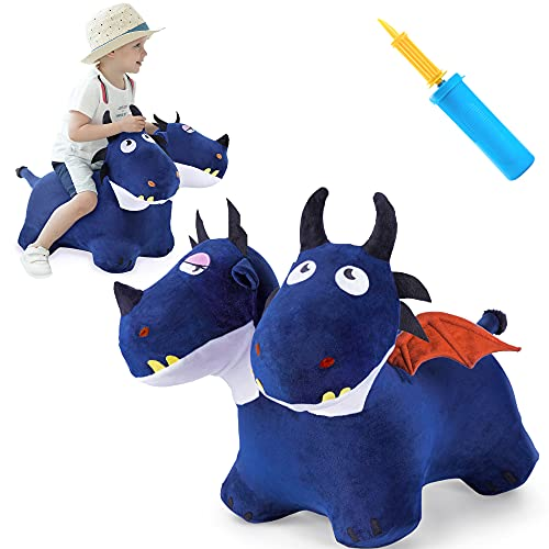 iPlay, iLearn Bouncy Pals Toddler Animal Hopper Toys, Kids Plush Blue Hopping Horse, Inflatable Ride on Dragon W  Pump, Indoor Outdoor Jumper, Birthday Gifts for 18 24 Month 2 3 4 Year Old Boy Girl