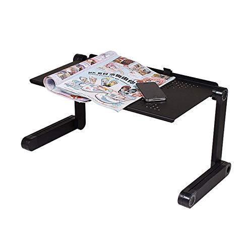AMRT Mesa plegable portátil y ajustable para ordenador portátil, bandeja de TV, muebles para el hogar, mesa de cama plegable (tamaño pequeño; color: negro)
