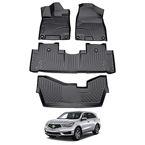 Cartist Floor Liners for 2020 MDX All Weather Floor Mats Custom Fit 2014 2015 2016 2017 2018 2019 Acura MDX 7 Seats Carpet Protection TPE Odorless
