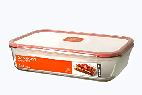 LOCK & LOCK Auflaufform aus Glas für den Backofen - Oven Glass Turkey - Lasagneform mikrowellengeeignet - Glastopf zum Kochen - Glaskochgeschirr 3,6 Liter