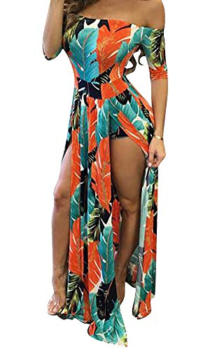 Women Maxi Romper Skirt Dresses Plus Size Bodycon Sexy Summer Dress Beach Orange L 8