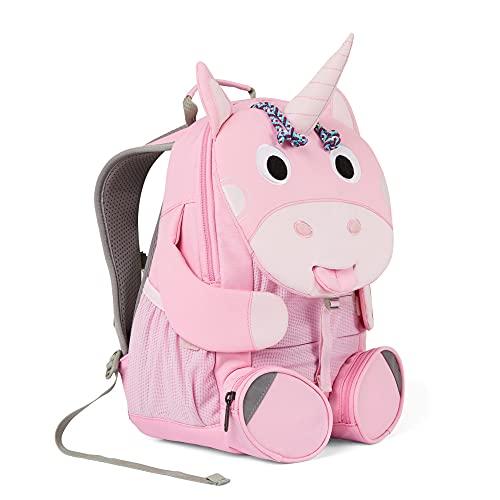 Affenzahn Kleiner Kindergartenrucksack in Form eines Einhorns, in der Farbe pink, reflektierend, ergonomisch, Name auf ausziehbare Zunge, AFZ-FAS-003-027