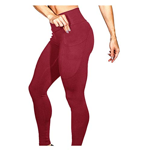 Dorical Damen Yogahose Hoher Bund Einfarbig Tasches Hosen Damen High Waist Fashion Leggings Workout Dünne Hosen lang Sport Fitness Workout Leggins für Frauen Günstig Online Sale(Rot,Medium)