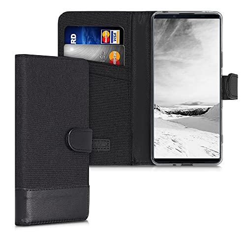 kwmobile Wallet Hülle kompatibel mit Sony Xperia 1 III - Hülle mit Ständer - Handyhülle Kartenfächer Anthrazit Schwarz