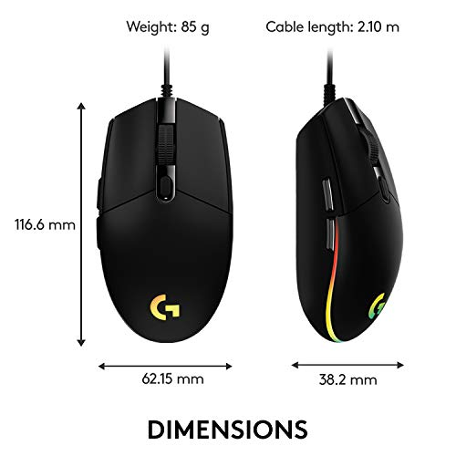 Logitech G203 Wired Gaming Mouse, 8,000 DPI, Rainbow Optical Effect LIGHTSYNC RGB, 6 Programmable Buttons, On-Board Memory, Screen Mapping, PC/Mac Computer and Laptop Compatible - Black