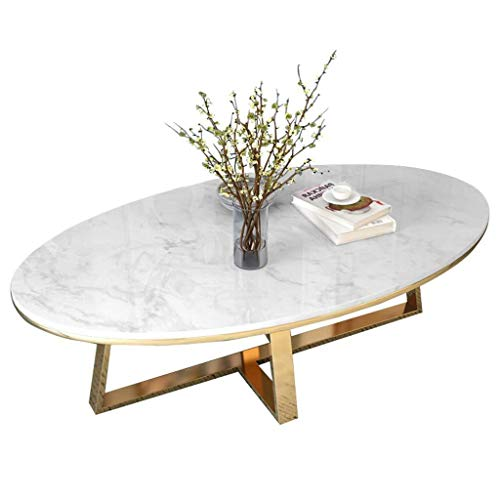 NJYT End Tables Living Room Coffee Table White Marble Top Oval Modern High Gloss Cocktail Sofa Side Table Office Guest Reception Table Waiting Area Table (Size : 80×50×45cm)