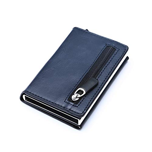 QIANHEDAMAI creditcardhouder portefeuille nieuwe aluminium box kaart portemonnee RFID anti-diefstal borstel PU leer pop-up kaartenetui magneet koolstofvezel portemonnee