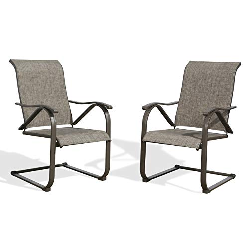 PATIO TREE Outdoor Spring Motion Dining Bistro Chairs with Textilene Steel Frame, Set of 2