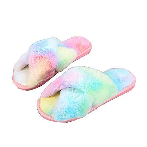 UMore Plüsch Hausschuhe Damen & Mädchen Flauschig Winter Pantoffeln Wärme Bequeme Slippers Offener Zeh Haus Kuschelig Hausschuhe Kinder