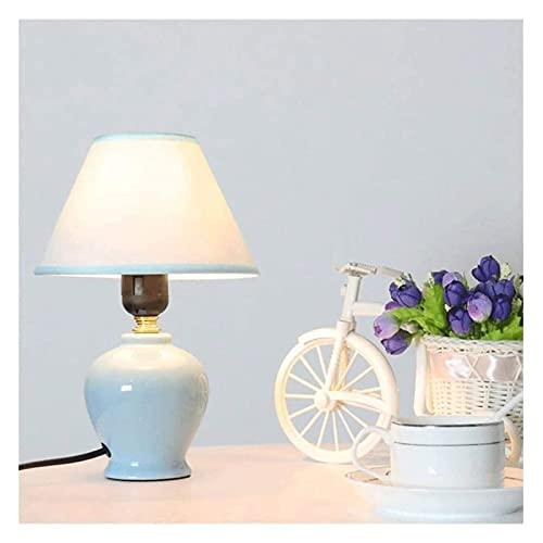 Lámpara de mesa de servicio Lámparas de escritorio Decoración moderna Pequeña lámpara de mesa de cerámica con tela ligera Lámparas de mesa de noche para dormitorios Lámpara de escritorio de protección