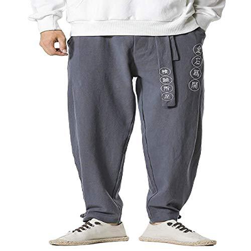 Pantalones Casuales para Hombre Pantalones de Cintura elástica Transpirables de Lino de algodón Pantalones de piernas Anchas Sueltas de Estilo étnico con Estampado de Letras Medium