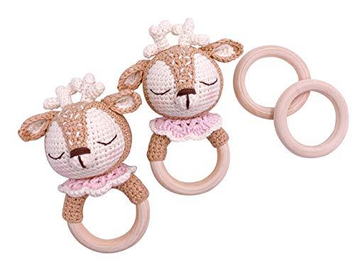 Little One Designer Greiflinge| Handmade Bio Neugeborenes Geschenk | Geschenk zur Geburt | Baby Party |Baby Shower | Greifling | Baby Girl | Beige Rose Weiß