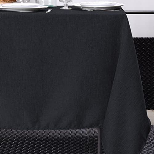 Mantel de Mesa Impermeable Antimanchas Rectangular 100% Poliéster, Paño para Mesa de Comedor, Cocina, Fiesta, Cumpleaños, Restaurante (Negro, 140 x 240 cm)