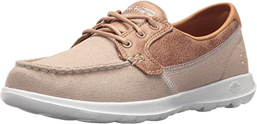 Skechers Women's GO Walk LITE-Coral Boat Shoes, Beige (Natural NAT), 7 (40 EU)