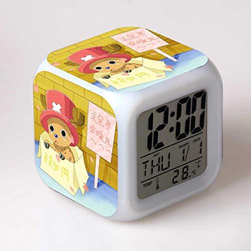 JCYY Niños Cabecera Dibujos Animados Despierta Despertador LED 7 Colores USB Digital Relojes Niños Habitación Inalámbrico Dormitar Reloj Cumpleaños Regalo por Muchachas Niños Adolescentes,8