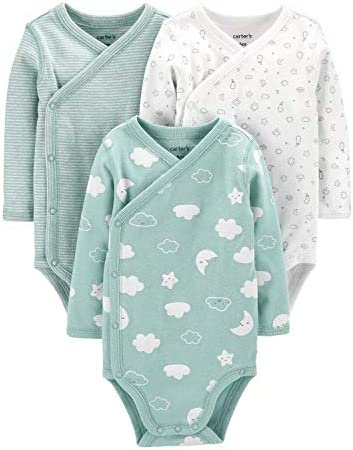 Carter s Baby Boys 3 Pack Side Snap Bodysuits Newborn Green Clouds product image